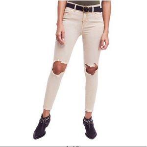 Free People Jeans - NWT FREE PEOPLE DISTRESSED KHAKI SKINNY JEANS